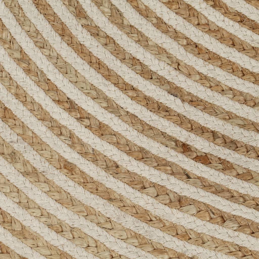 Covor lucrat manual cu model spiralat, alb, 90 cm, iută