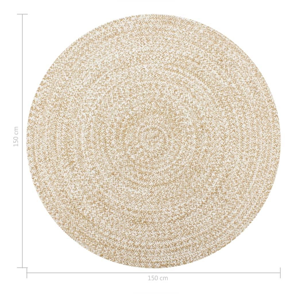 vidaXL Covor manual, alb și natural, 150 cm, iută