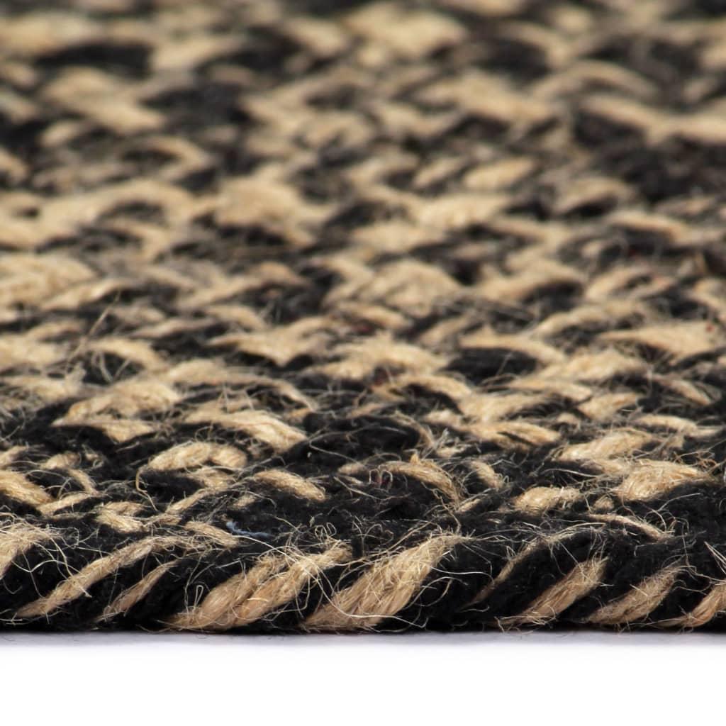 Covor manual, negru și natural, 150 cm, iută
