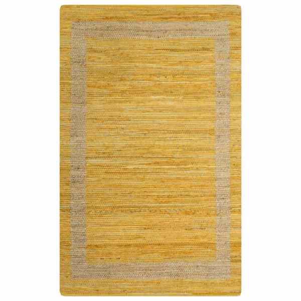 vidaXL Covor manual, galben, 160 x 230 cm, iută