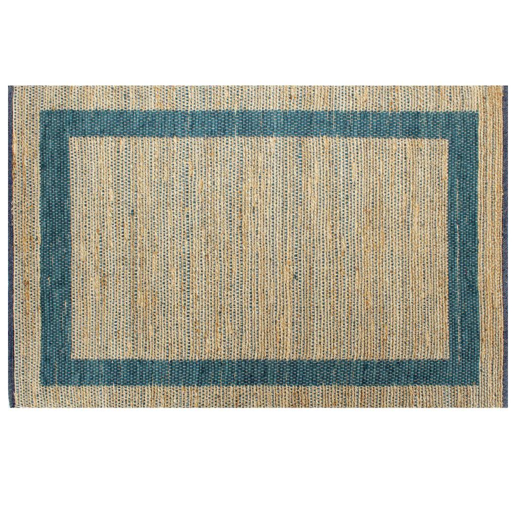 Covor manual, albastru, 160 x 230 cm, iută