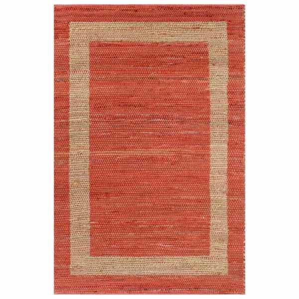 vidaXL Covor manual, roșu, 120 x 180 cm, iută