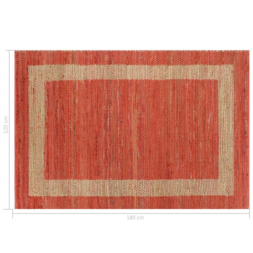 Covor manual, roșu, 120 x 180 cm, iută