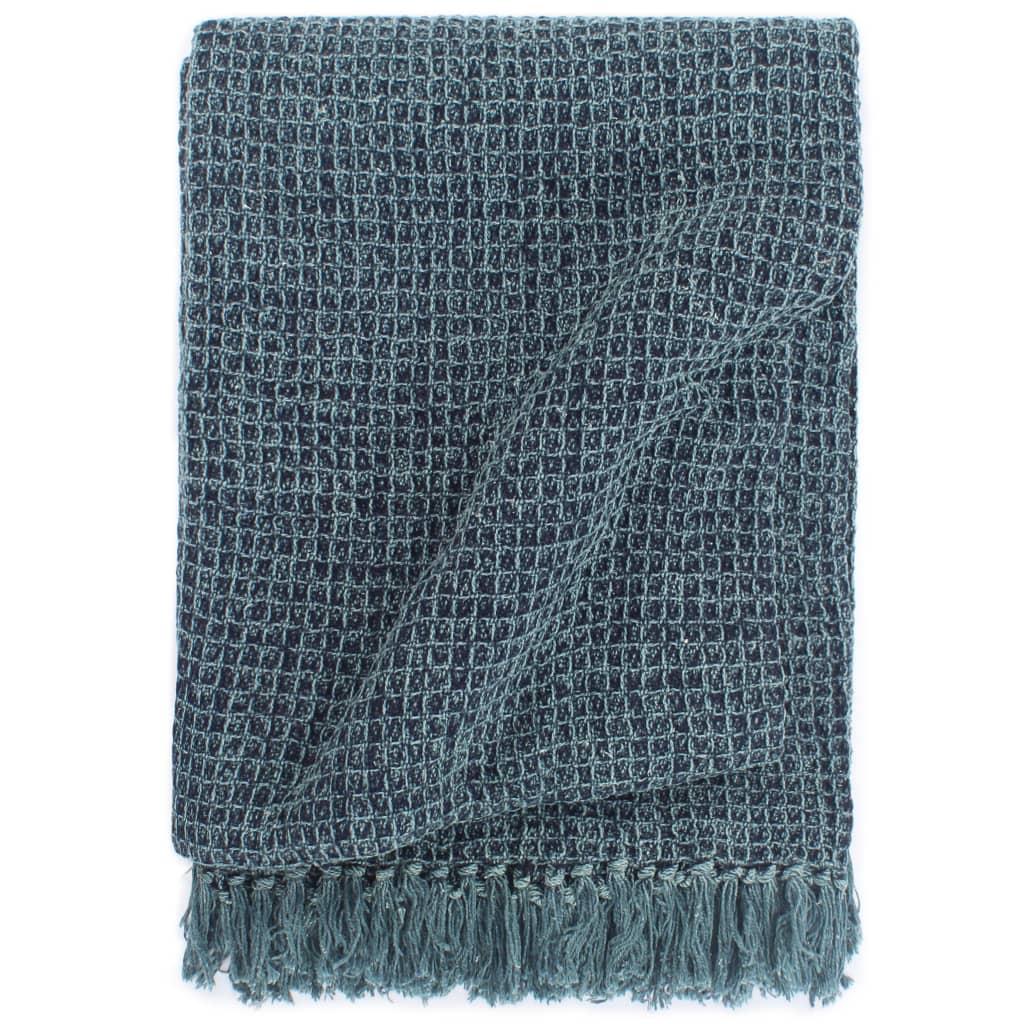 vidaXL Pătură decorativă, albastru indigo, 160 x 210 cm, bumbac