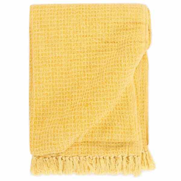 vidaXL Pătură decorativă, galben muștar, 220 x 250 cm, bumbac