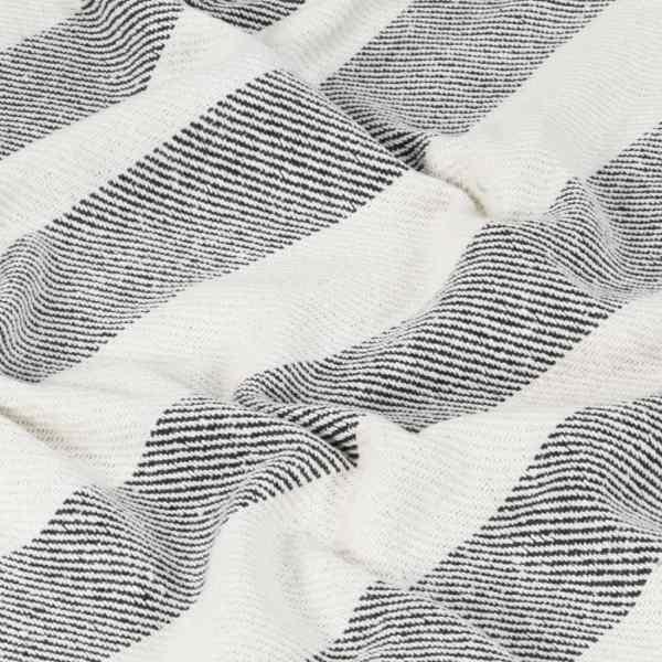 vidaXL Pătură decorativă, antracit, 125 x 150 cm, bumbac, dungi