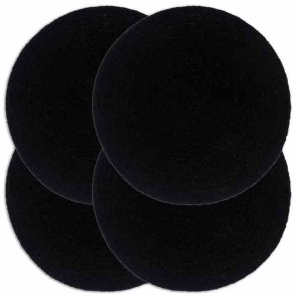 vidaXL Naproane, 4 buc., negru, 38 cm, bumbac, rotund