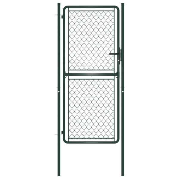 vidaXL Poartă de gard, verde, 100 x 175 cm, oțel