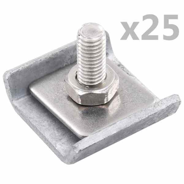 vidaXL Conector grilaj din plasă, argintiu, 25 seturi