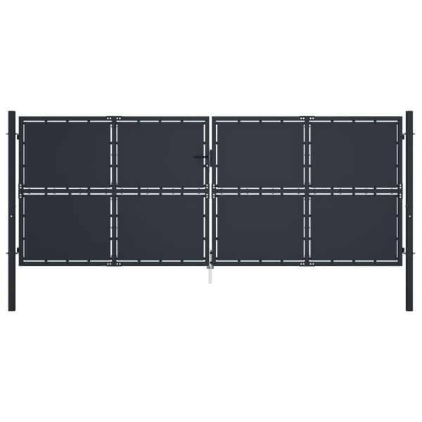 vidaXL Poartă de grădină, antracit, 400 x 150 cm, oțel
