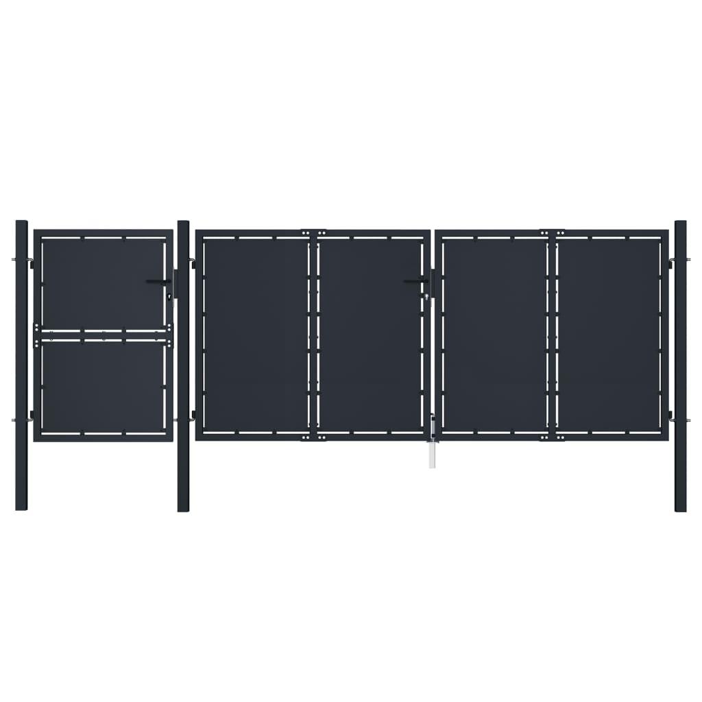 vidaXL Poartă de grădină, antracit, 4 x 1,75 m, metal