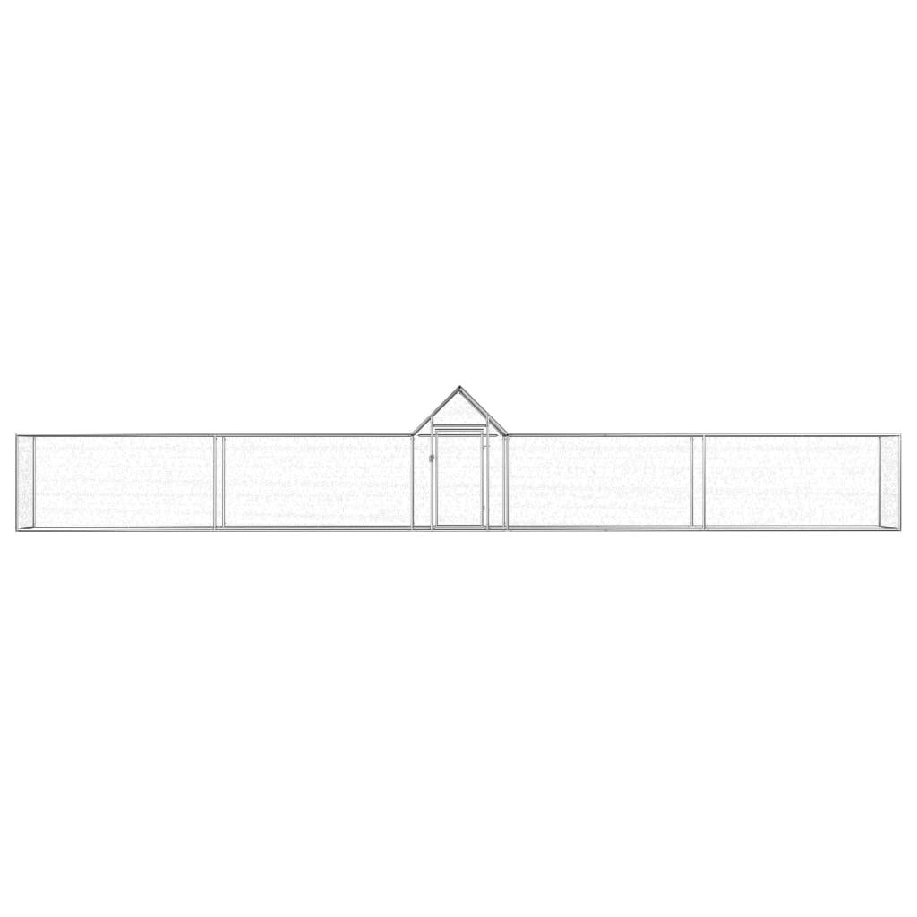 vidaXL Coteț de găini, 9x1x1,5 m, oțel galvanizat