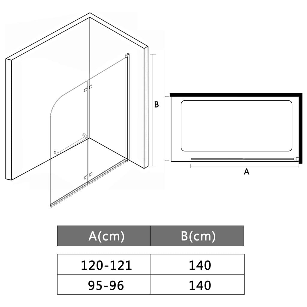 Cabină de duș pliabilă, 2 panouri, 95 x 140 cm, ESG
