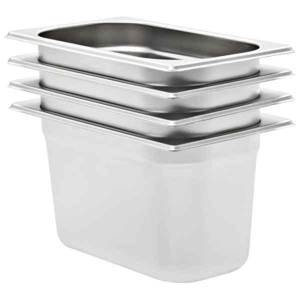 vidaXL Recipiente Gastronorm 4 buc. GN 1/4 150 mm oțel inoxidabil