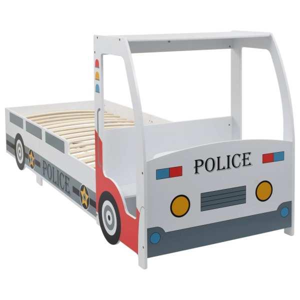 vidaXL Pat de copii cu birou tip mașină de poliție, 90×200 cm