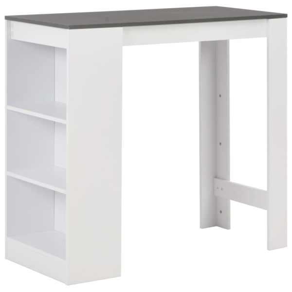 vidaXL Masă bar cu rafturi, alb, 110x50x103 cm