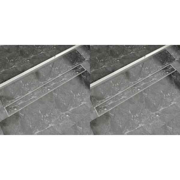vidaXL Rigolă de duș liniară, 2 buc., 1030×140 mm, oțel inoxidabil