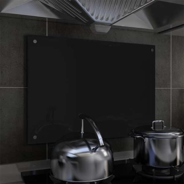 vidaXL Panou antistropi bucătărie, negru, 70×50 cm, sticlă securizată