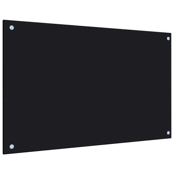 Panou antistropi bucătărie, negru, 80×50 cm, sticlă securizată