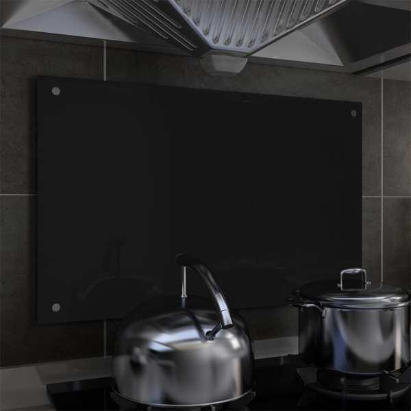 vidaXL Panou antistropi bucătărie, negru, 80×50 cm, sticlă securizată