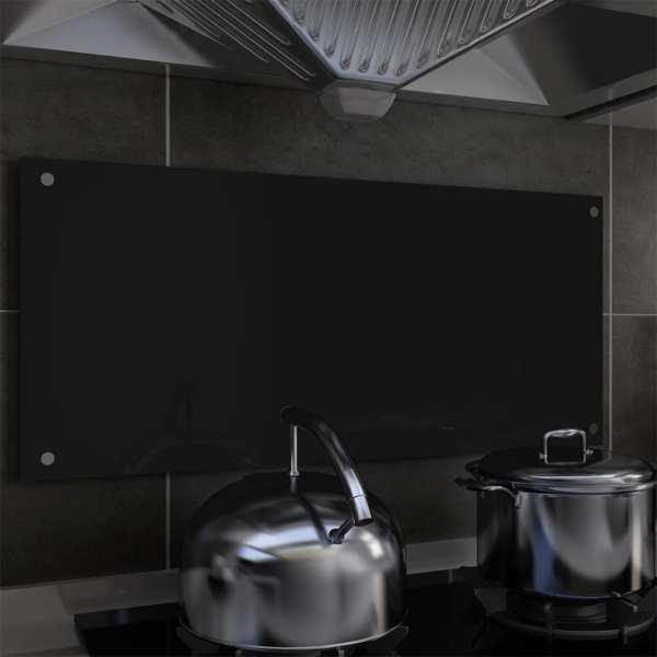 vidaXL Panou antistropi bucătărie, negru, 90×40 cm, sticlă securizată