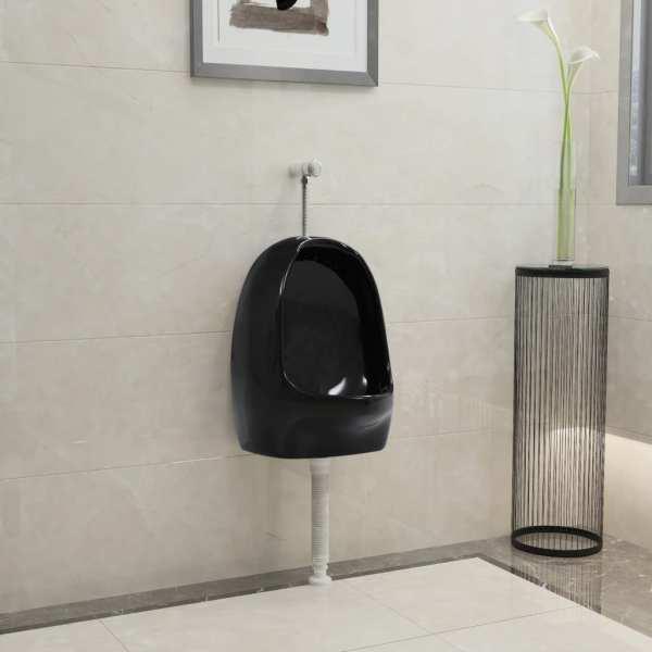 vidaXL Pisoar de perete cu supapă pentru spălare, negru, ceramică