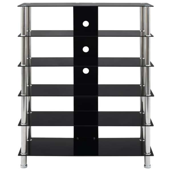 Comodă HiFi, negru, 90 x 40 x 113 cm, sticlă securizată