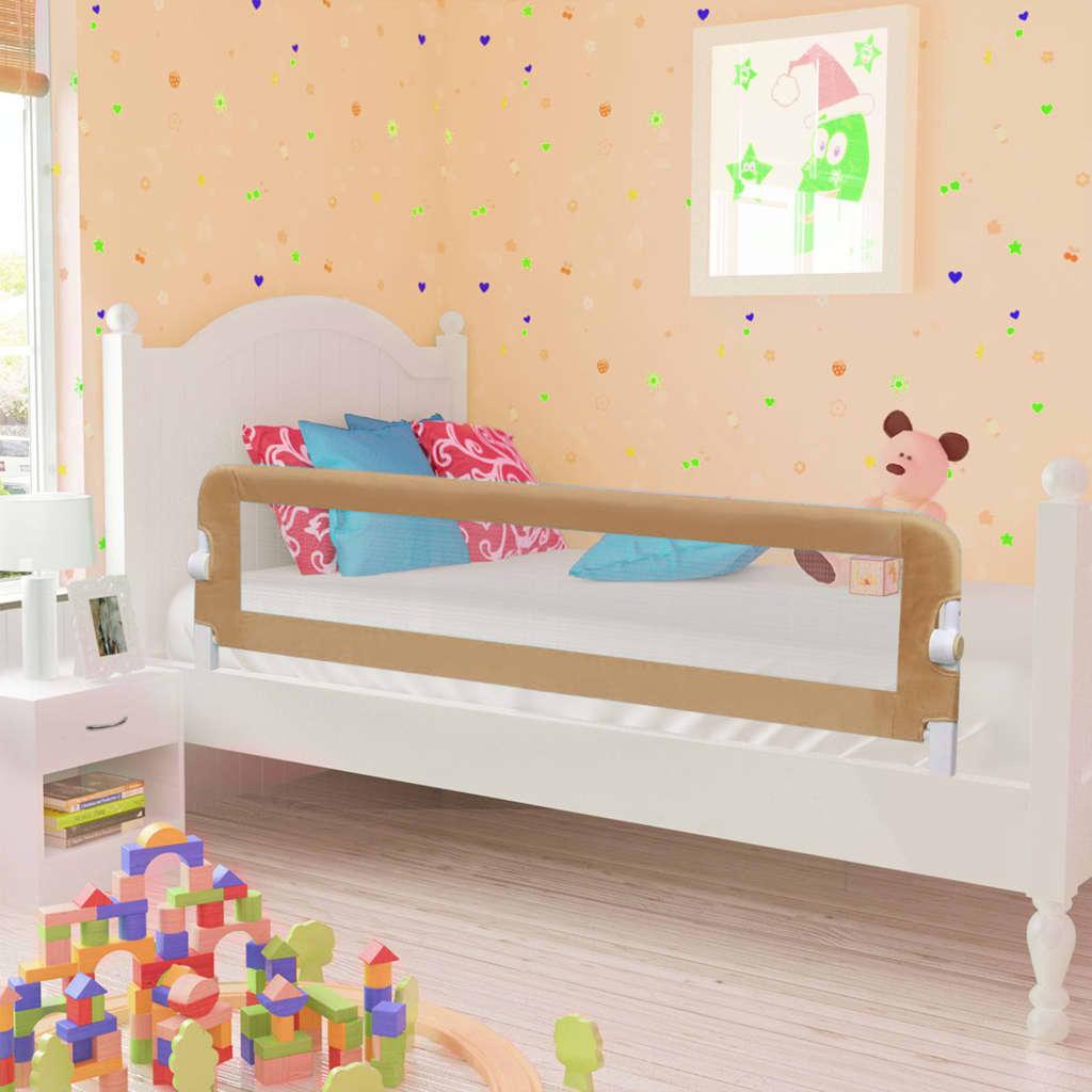vidaXL Balustradă protecție pat copii, gri taupe, 150×42 cm, poliester