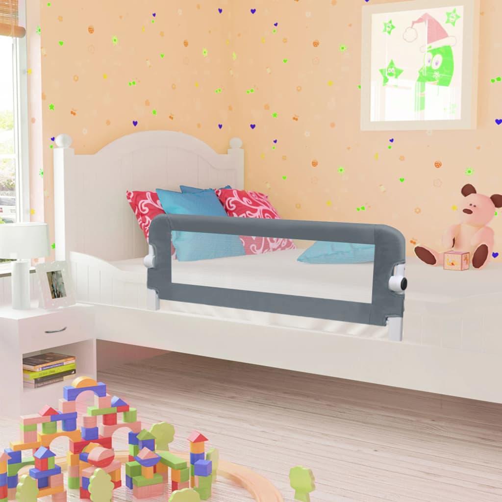 vidaXL Balustradă de protecție pat copii, gri, 102 x 42 cm, poliester