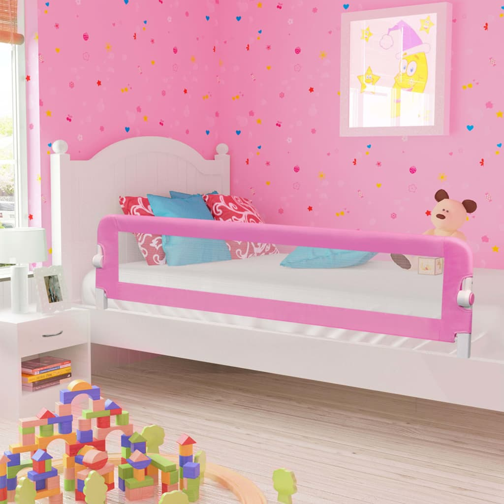 vidaXL Balustradă de protecție pat copii, roz, 180×42 cm, poliester