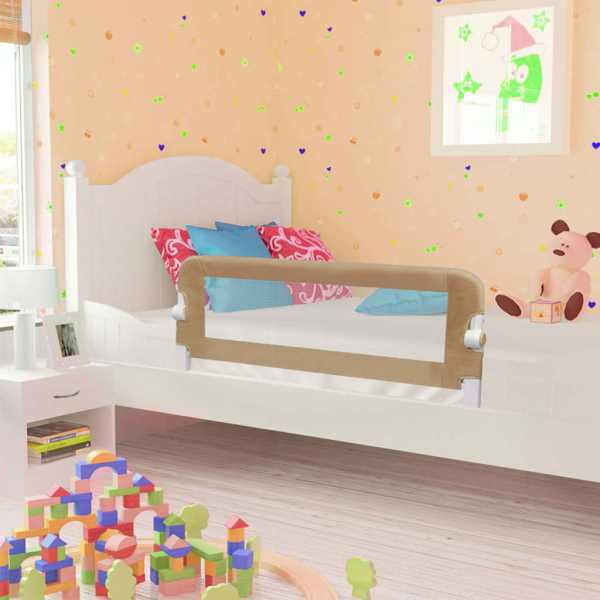 vidaXL Balustradă protecție pat copii, gri taupe, 120×42 cm, poliester