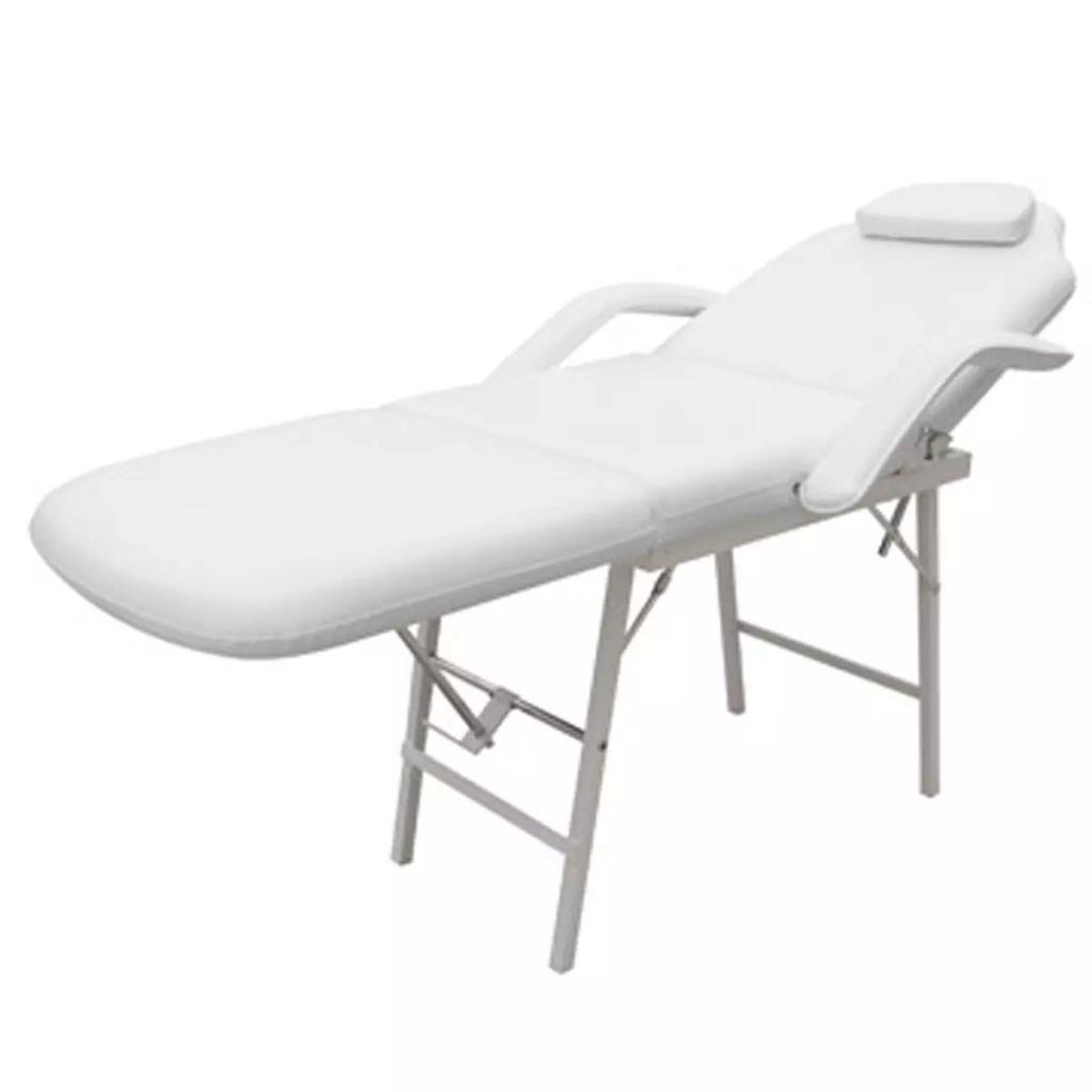 Scaun/pat pentru masaj/cosmetica reglabil alb
