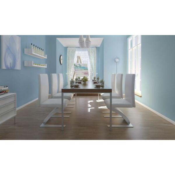 vidaXL Scaune de bucătărie, 6 buc., alb, piele ecologică