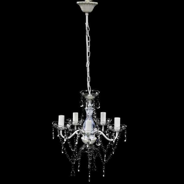 Lustră transparentă de cristal artificial cu 5 becuri