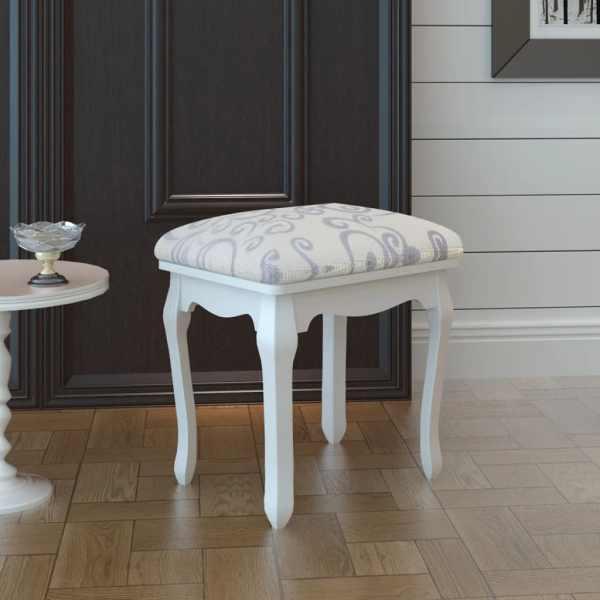 vidaXL Taburet pentru dressing, alb crem, material textil
