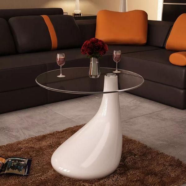 vidaXL Măsuță de cafea cu blat rotund din sticlă, alb lucios