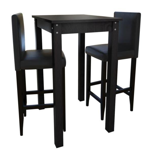 Masă de bar cu 2 scaune de bar, negru