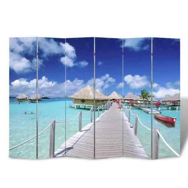 vidaXL Paravan de cameră pliabil, 240 x 170 cm, plajă
