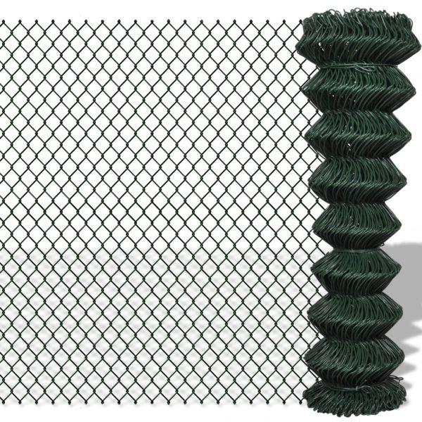 vidaXL Gard de legătură din plasă, verde, 1,5 x 25 m, oțel