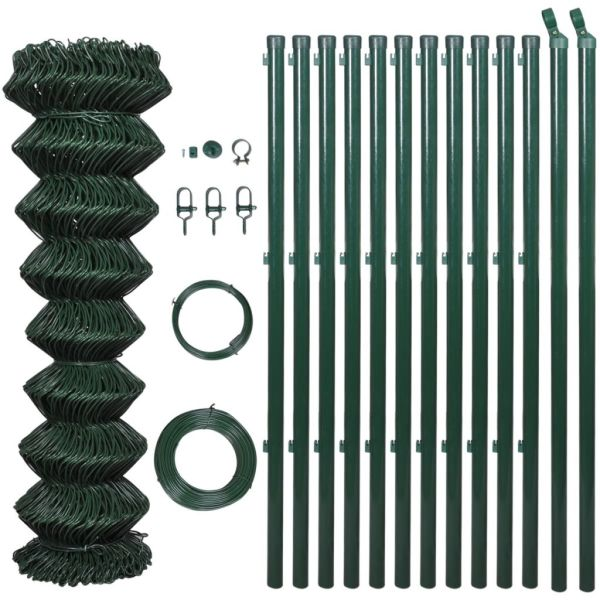vidaXL Gard de legătură din plasă cu stâlpi, verde, 0,8 x 25 m, oțel