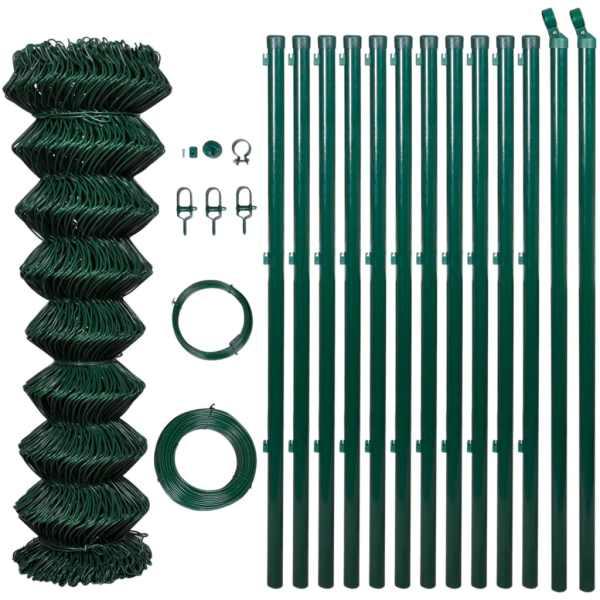 Gard din plasă cu stâlpi, verde, 1,5 x 25 m, oțel
