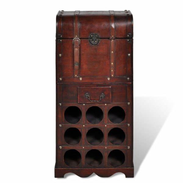 Suport sticle vin pentru 9 sticle, lemn, spațiu de depozitare