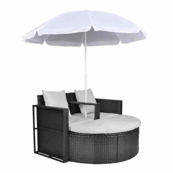Pat de grădină cu umbrelă de soare, negru, poliratan