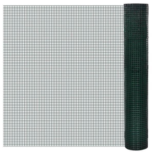 vidaXL Plasă de sârmă găini, verde, 25 x 1 m, oțel galvanizat cu PVC