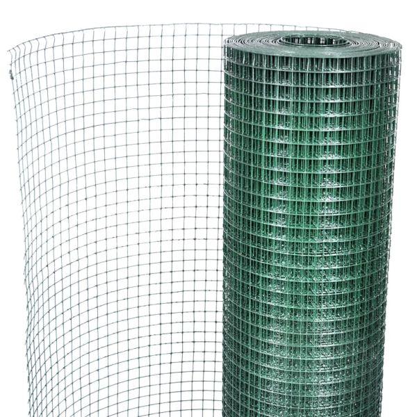 Plasă de sârmă găini, verde, 25 x 1 m, oțel galvanizat cu PVC