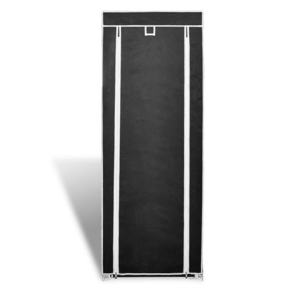 Dulap pantofi cu husă din material textil 57 x 29 x 162 cm, Negru