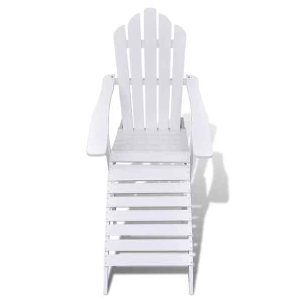 Scaun de grădină cu taburet, alb, lemn
