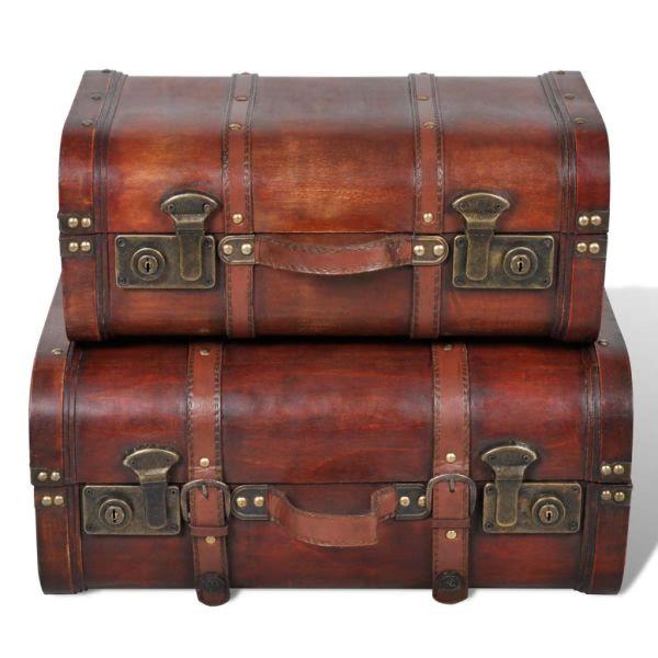 Cufăr vintage din lemn, 2 bucăți, maro