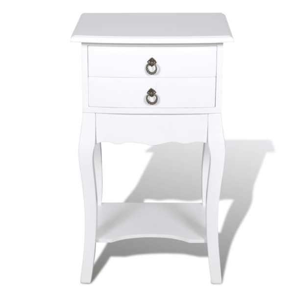 vidaXL Noptieră cu 2 sertare, alb