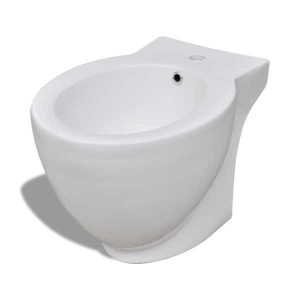 vidaXL Bideu rotund pe pardoseală, ceramică calitate superioară, alb